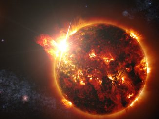 Depiction of high energy emission from an active red dwarf. Credits: NASA's Goddard Space Flight Center/S. Wiessinger