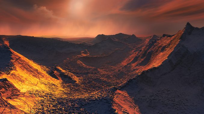 The nearest single star to the Sun hosts an exoplanet at least 3.2 times as massive as Earth — a so-called super-Earth. Data from a worldwide array of telescopes, including ESO's planet-hunting HARPS instrument, have revealed this frozen, dimly lit world. The newly discovered planet is the second-closest known exoplanet to the Earth and orbits the fastest moving star in the night sky. This image shows an artist's impression of the planet's surface.